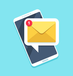Flat email notification on smartphone sms icon or vector
