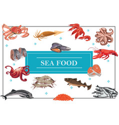 flat seafood colorful concept vector image