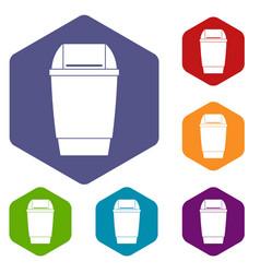 Flip lid bin icons set hexagon vector