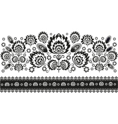 Folk Pattern With Flowers White vector
