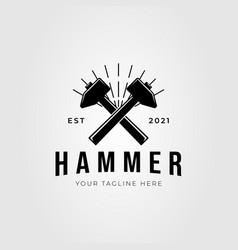 Forging hammer gavel silhouette logo design vector