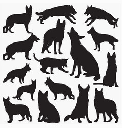 german shepherd silhouettes vector image
