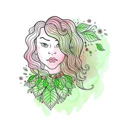 girl and leaves on a green watercolor background vector image
