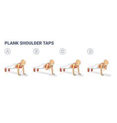 Girl doing plank shoulder taps workout exercise vector