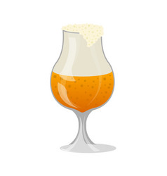 glass of craft beer with foam isolated icon vector image