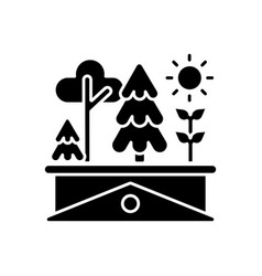green roof black glyph icon vector image