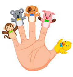 Hand wearing 5 animal finger puppets vector