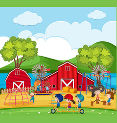happy children playing in the playground with vector image