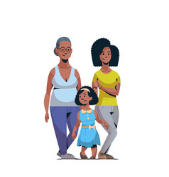 Happy three generations african american family vector