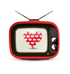 heart on red retro tv isolated on white vector image