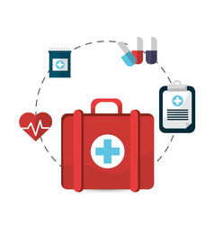 Hospital suitcase tools icon vector
