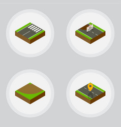 isometric way set of footer navigation turn and vector image