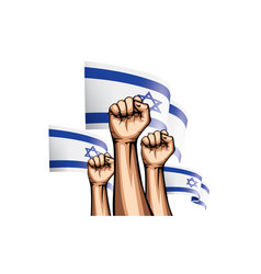Israel flag and hand on white background vector
