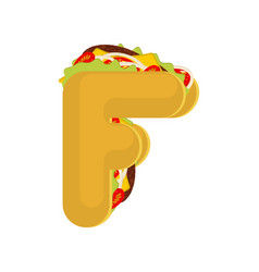 letter f tacos mexican fast food font taco vector image