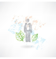 Man and leafs grunge icon vector image vector image