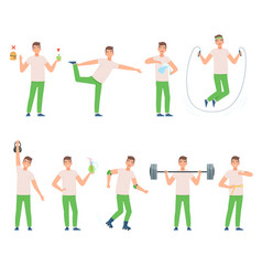 Man leads a healthy lifestyle vector