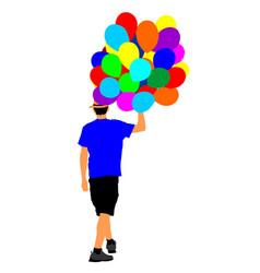 Man with balloons animator on childrens birthday vector
