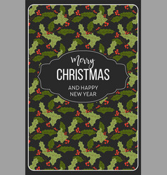 merry christmas happy new year mistletoe seamless vector image