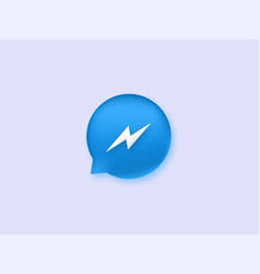 Messenger icon blue speech button with white vector