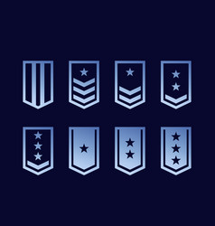military ranks army epaulettes set vector image