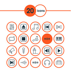 Music icons set with skip song refresh start vector
