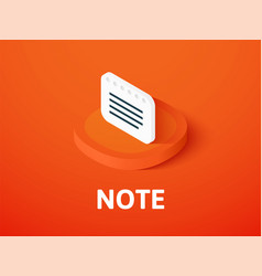 note isometric icon isolated on color background vector image