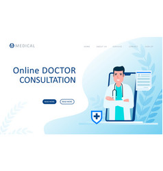 online consultation doctor concept flat design vector image