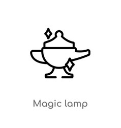 Outline magic lamp icon isolated black simple vector