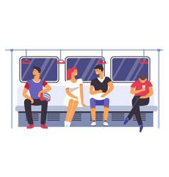 Passengers traveling subway underground train vector