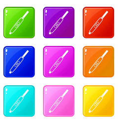 pregnancy test with positive pregnant icons 9 set vector image