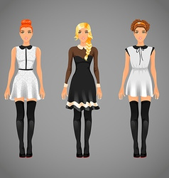 Pretty females in different black and white collar vector