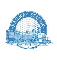 railway station logo design template vector image