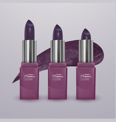 Realistic lipstick of dark cherry color with vector