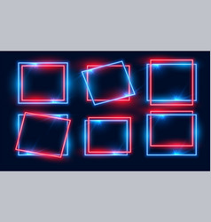 Red and blue rectangular neon frames set six vector
