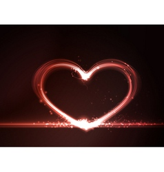 Red glowing heart vector
