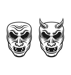 samurai masks two styles with vector image