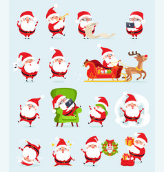 Santa claus icons collection vector