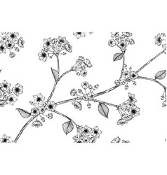 seamless pattern sakura flower and leaf hand vector image