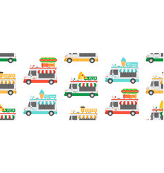 seamless pattern with street food trucks vector image