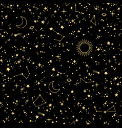 seamless starry cosmos with stars and vector image