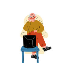 Senior man sitting on armchair watching tv vector
