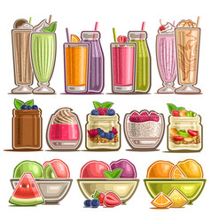 set different desserts vector image