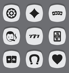 Set of 9 editable casino icons includes symbols vector
