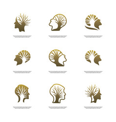 Set of brain with tree logo design concept people vector