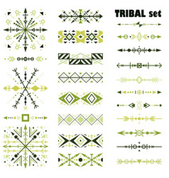 set of design elements in tribal style vector image