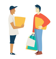 Shopping man with box or parcel and guy with bags vector