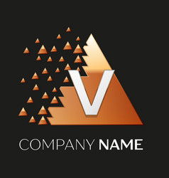 Silver letter v logo symbol in the triangle shape vector