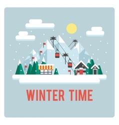 Ski resort in mountains winter time day vector