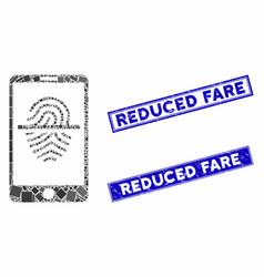 Smartphone fingerprint scanner mosaic and distress vector