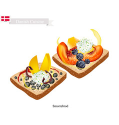 Smorrebrod with fresh fruit the national dish of vector